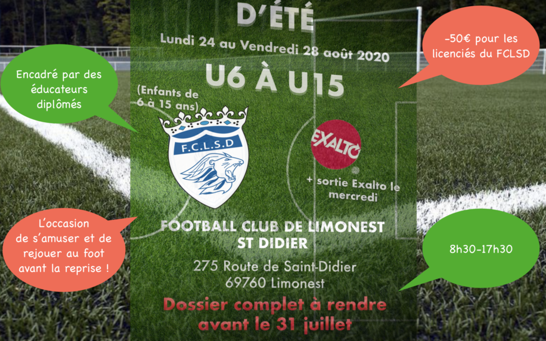 INSCRIPTIONS STAGE DE FOOT DU 24 AU 28 AOÛT !